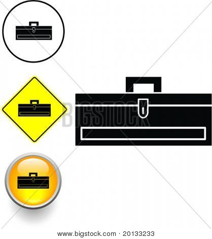 caixa de ferramentas fechado símbolo sinal e botão
