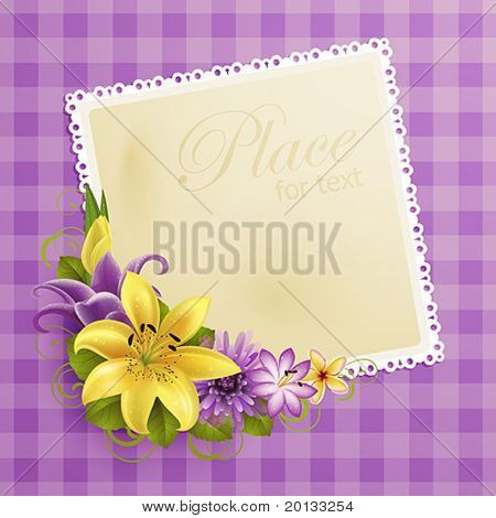 greeting card with flowers and place for text