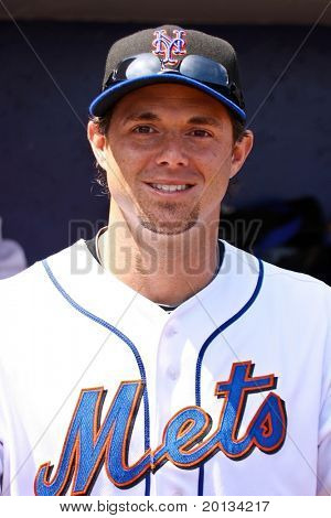 PORT ST. LUCIE, FLORIDA - MARCH 23: New York Mets outfielder Frank Catalonotta takes a look outside of the dugout before a game against the Atlanta Braves on March 23, 2010 in Port St. Lucie, Florida.