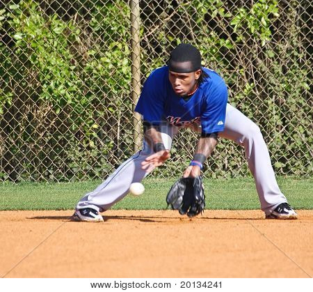 PORT ST. LUCIE, FLORIDA - MARCH 24: NY Mets shortstop Jose Reyes during spring training workouts after being cleared by doctors due to an overactive thyroid on March 24, 2010 in Port St. Lucie, Fla.