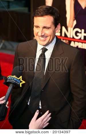"NEW YORK - APRIL 6: Actor Steve Carrell arrives on the red carpet for the premiere of ""Date Night"" on April 6, 2010 in New York City."