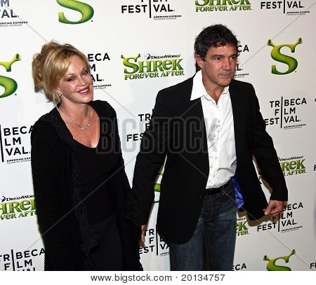 NEW YORK - APRIL 21: Melanie Griffith and Antonio Banderas attend the 2010 TriBeCa Film Festival movie premiere of 'Shrek Forever After' at the Ziegfeld Theatre on April 21, 2010 in New York City.