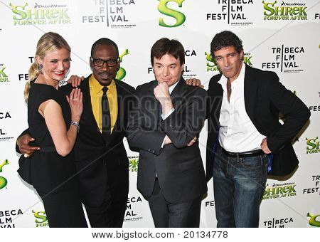 NEW YORK - APRIL 21: Cameron Diaz, Eddie Murphy, Mike Myers and Antonio Banderas attend TriBeCa Film Festivals premiere of 'Shrek Forever After' at Ziegfeld Theatre on April 21, 2010 in New York City.