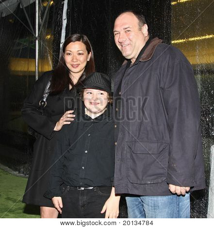 NEW YORK - APRIL 21: Actor James Gandolfini and family attend the 2010 TriBeCa Film Festival opening night premiere of 'Shrek Forever After' at the Ziegfeld Theatre on April 21, 2010 in New York City.