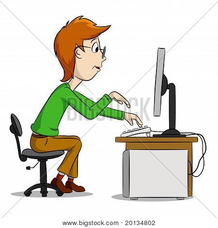 Cartoon Funny Boy And Computer