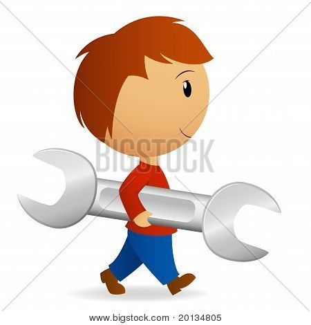 Cartoon Boy Carry Big Wrench Spanner