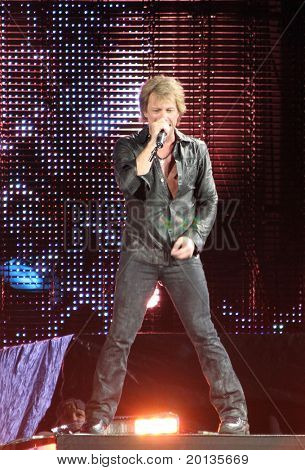 NEW JERSEY - MAY 29: The rock band Bon Jovi performs at the new Meadowlands Arena on May 29, 2010 in East Rutherford, NJ.