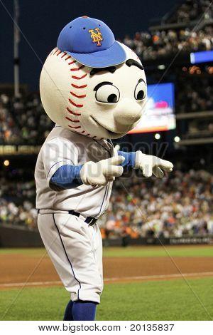 FLUSHING - JUNE 23: New York Mets mascot Mr. Met performs at Citi Field Park on June 23, 2010 in Flushing, New York.