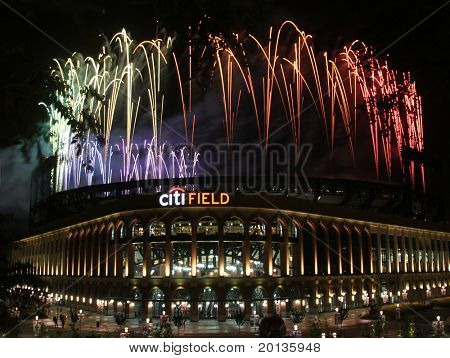 NEW YORK - JULY 5: Pyrotechnics display at Citi Field ballpark on July 5, 2010 in Flushing, New York.