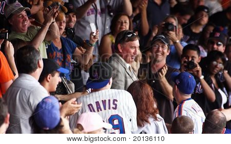 FLUSHING - AUGUST 1: Former New York Mets catcher Gary Carter visits the crowd during a baseball game at CitiField ballpark against the Arizona Diamondbacks on August 1, 2010 in Flushing, New York.