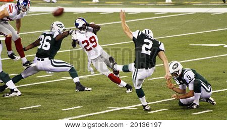 EAST RUTHERFORD, NJ - AUGUST 16: New York Jets Kicker Nick Folk in action against the New York Giants at the new Meadowlands arena on August 16, 2010 in East Rutherford, New Jersey.