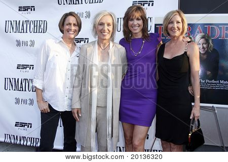 """NEW YORK - AUGUST 26: Mary Carillo, Martina Navratilova, Hannah Storm and Chris Evert attend ESPN Films' """"Unmatched"""" premiere at the TriBeCa Cinemas on August 26, 2010 in New York City."""