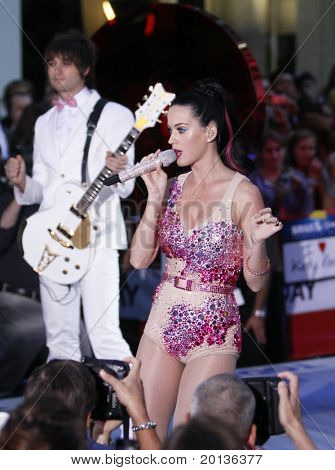 "NEW YORK - AUGUST 27: Singer Katy Perry performs on NBC's ""Today Show"" at Rockefeller Plaza on August 27, 2010 in New York City."