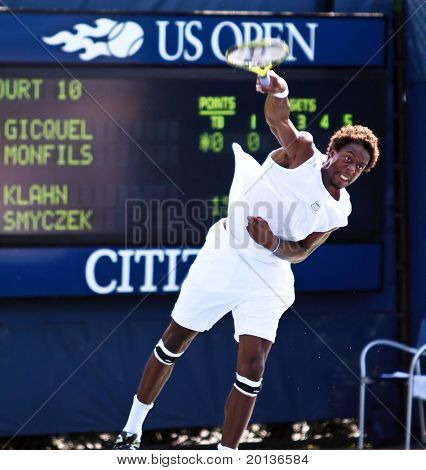 FLUSHING, NY - SEPTEMBER 2: Gael Monfils of France serves during his men's doubles match at the US Open at the Billie Jean National Tennis Center on September 2, 2010 in Flushing, NY.