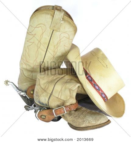 Worn Western Boots With Spurs And Hat