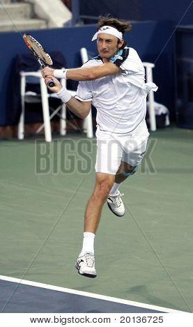 FLUSHING, NY - SEPTEMBER 4: Juan Carlos Ferrero (ESP) volleys during mens singles at the US Open Tennis Tournament at the Billie Jean King National Tennis Center on September 4, 2010 in Flushing, NY.