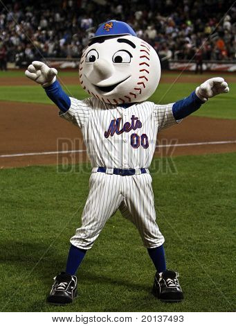 FLUSHING, NY - SEPTEMBER 15: New York Mets mascot, Mr. Met, during a baseball game at CitiField ballpark against the Pittsburgh Pirates on September 15, 2010 in Flushing, New York.