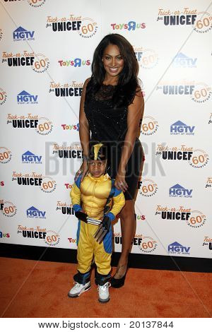 NEW YORK - OCTOBER 13: LaLa Vasquez and her son, Kiyan attend the 60th Anniversary of Trick-or-Treat for UNICEF at The Xchange on October 13, 2010 in New York City.