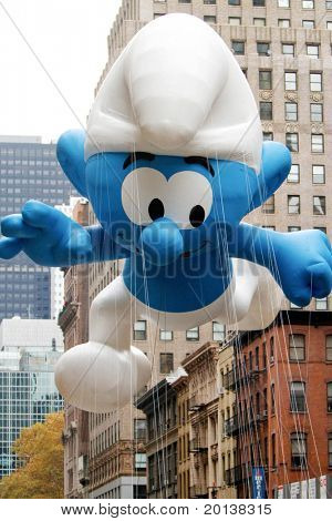 NEW YORK - NOVEMBER 25: The Smurf float appears in the 84th Macy's Thanksgiving Day Parade on November 25, 2010 in New York City.