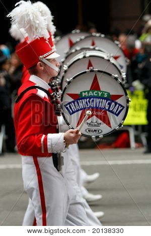 NEW YORK - NOVEMBER 25: Marching band drummers attend the 84th Macy's Thanksgiving Day Parade on November 25, 2010 in New York City.