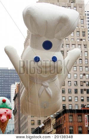 NEW YORK - NOVEMBER 25: The Pillsbury Doughboy float appears in the 84th Macy's Thanksgiving Day Parade on November 25, 2010 in New York City.