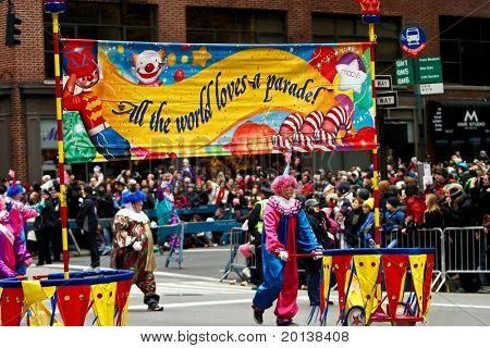 NEW YORK - NOVEMBER 25: A banner appears in the 84th Macy's Thanksgiving Day Parade on November 25, 2010 in New York City.