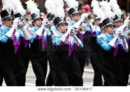 NEW YORK - NOVEMBER 25: A band marches in the 84th Macy's Thanksgiving Day Parade on November 25, 2010 in New York City.