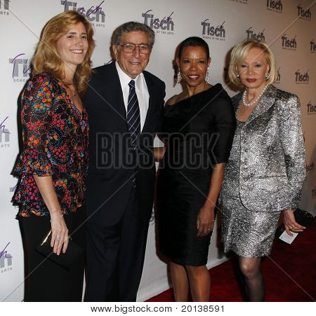 NEW YORK - DECEMBER 6: Susan and Tony Bennett, Dean Mary Schmidt Campbell, Iris Cantor at the Face of Tisch gala at the Frederick P. Rose Hall at Lincoln Center on December 6, 2010 in New York City.
