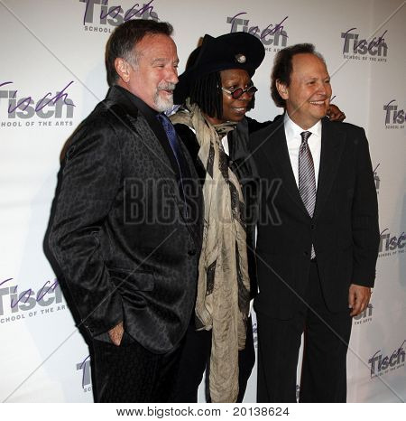 NEW YORK - DECEMBER 6: Comedians Robin Williams, Whoopi Goldberg and Billy Crystal attend the Face of Tisch gala at the Frederick P. Rose Hall at Lincoln Center on December 6, 2010 in New York City.