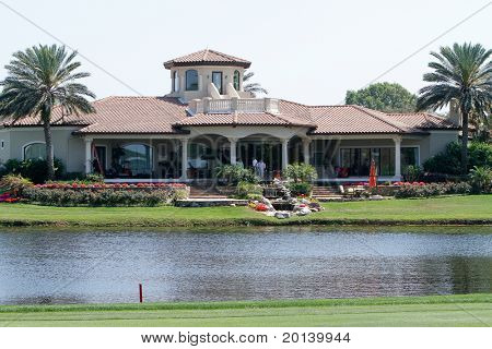 ORLANDO, FL - MARCH 23: The club house at the Bay Hill Club and Lodge at the Arnold Palmer Invitational Golf Tournament on March 23, 2011 at the Bay Hill Club and Lodge in Orlando, Florida.
