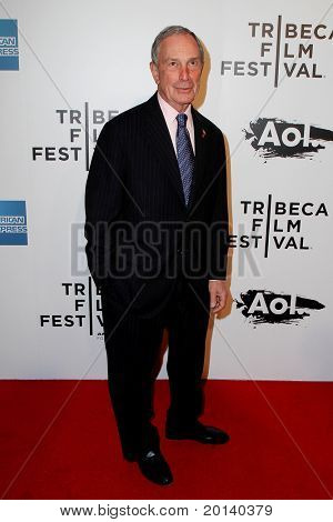 """NEW YORK - APRIL 20: Mayor Michael Bloomberg attends the opening night premiere of """"The Union"""" at 2011 TriBeCa Film Festival at World Financial Center Plaza on  April 20, 2011 in New York City."""