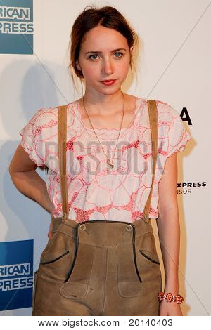 """NEW YORK - APRIL 20: Zoe Kazan attends the opening night premiere of """"The Union"""" at 2011 TriBeCa Film Festival at North Cove at World Financial Center Plaza on  April 20, 2011 in New York City."""