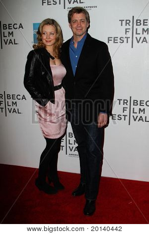 "NEW YORK - APRIL 21: Chris Henry Coffey and girlfriend Jennifer Mudge attend the 2011 TriBeCa Film Festival premiere of ""The Bang Bang Club"" at the BMCC TriBeCa PAC on April 21, 2011 in New York City."