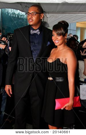 NEW YORK - APRIL 26: Carmelo Anthony and wife, Lala Vasquez attend the Time 100 Gala for the 100 Most Influential People in the World at the Time Warner Center on April 26, 2011 in New York City.