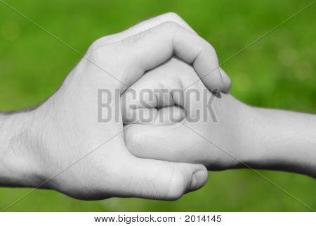 Hand hält Faust