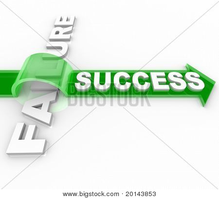 The word Success jumping over the word Failure on top of an arrow, symbolizing the overcoming of an obstacle and achieving your goals