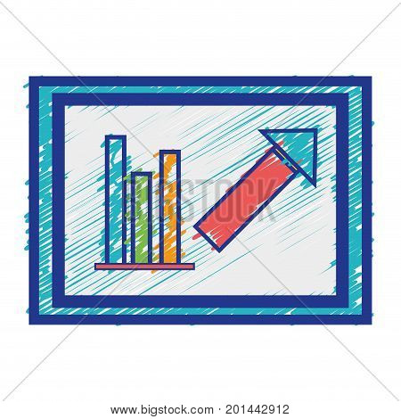 poster of document with statistics bar diagram graphy vector illustration