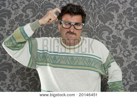 nerd pensive silly man retro wallpaper glasses tacky guy