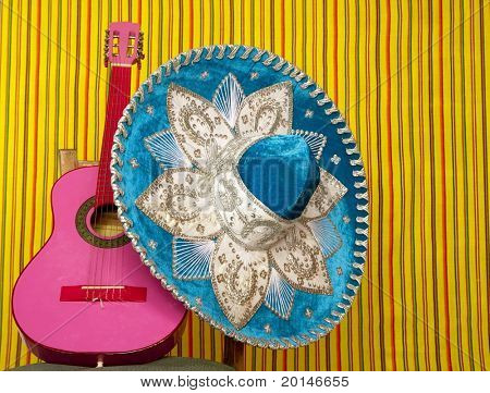 mariachi embroidery mexican hat pink guitar in striped background