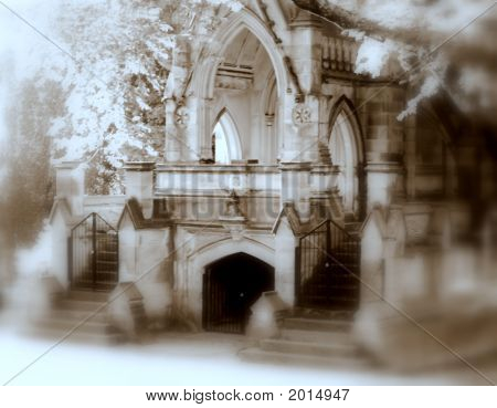 Spooky Gothic Crypt Sepia