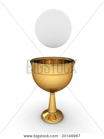 3D Illustration of a Chalice with a Host/Hostia