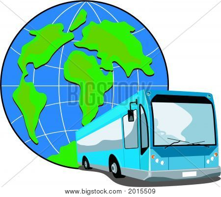 Blue Bus Coach With Globe In The Background