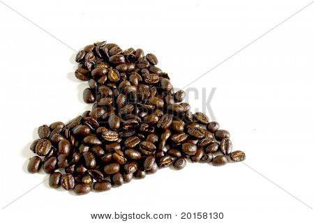 heart of coffee beans I love coffee!