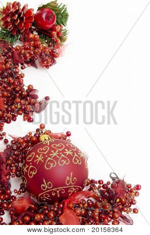 red christmas  frame of berries with filigree on ball
