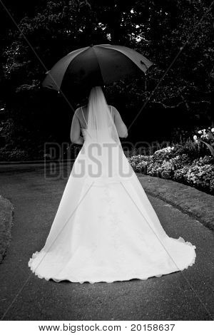 bride from the back with umbrella