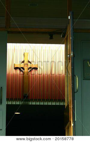 cross in doorway