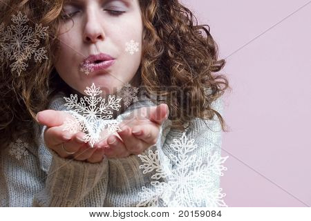 blowing snowflakes