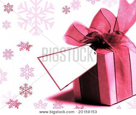 pink present with pretty ribbon and bow