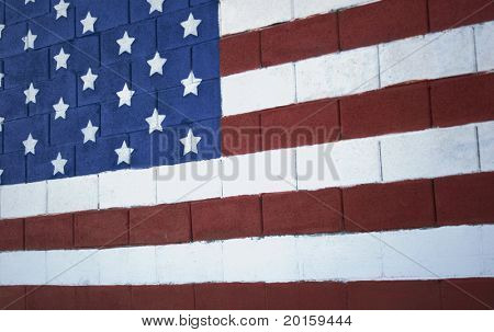 american flag on bricks
