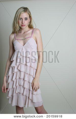 blond fashion model in a dress